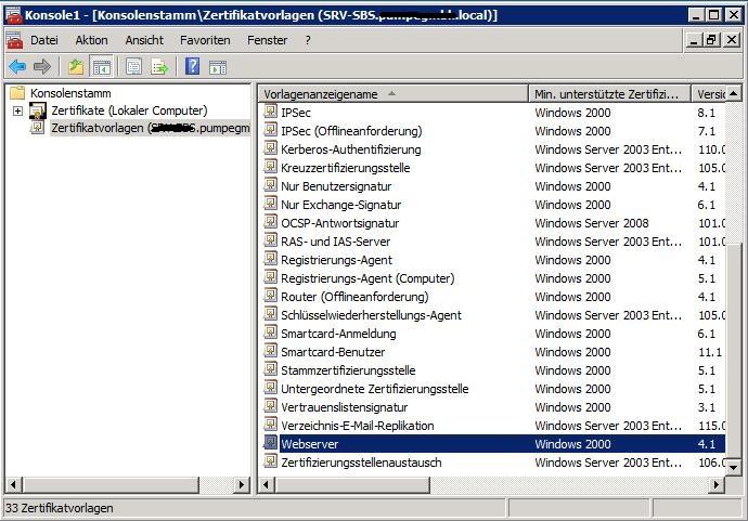 In SBS2008 selbst erstellte Zertifikate nutzen