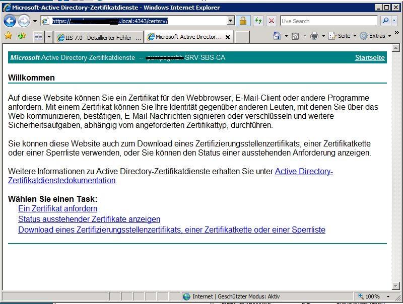 In SBS2008 selbst erstellte Zertifikate nutzen | PointerCrash