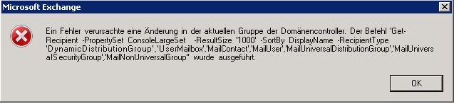 Exchange 2010 Fehler in der Konsole nach Herabstufung eines Domänencontrollers, Event ID 4, 5 Quelle: MSExchange Configuration Cmdlet – Remote Management