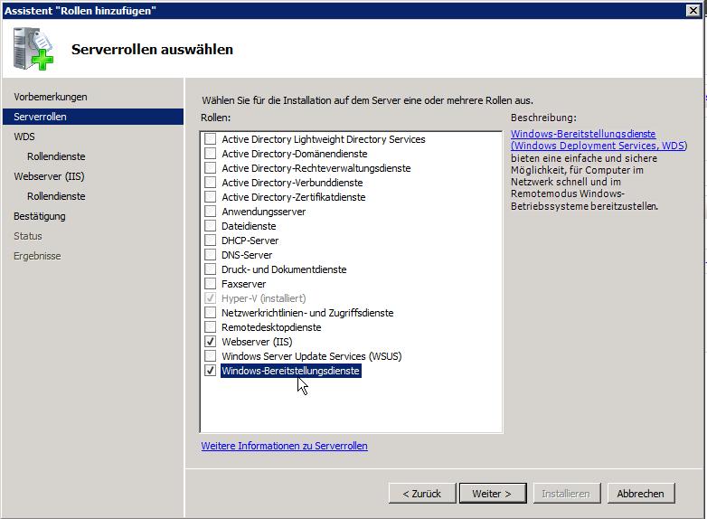 PXE-BootServer auf Basis WDS 2008R2  für die XenClient-Installation installieren