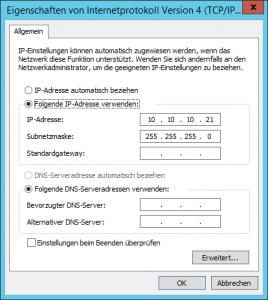 privates Netz IPV4 Einstellungen