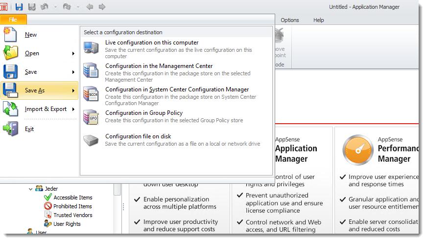 AppSense, Konfigurationen für die einzelnen Produkte anlegen