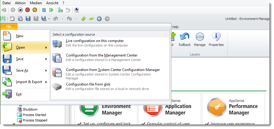 AppSense, Erstellen einer kleinen Enviroment Konfiguration