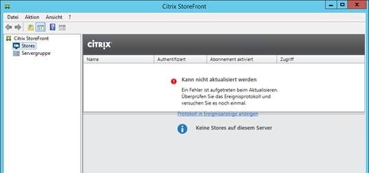 """Citrix Storefront 3.6 und 3.7, Fehler in der Console: """"Kann nicht aktualisiert werden."""""""